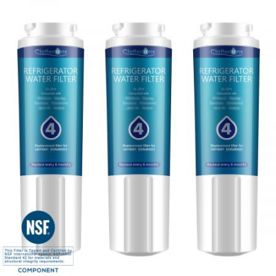 Clatterans CL-Z011 Replacement Refrigerator Water Filter for EDR4RXD1 Filter 4 & UKF8001 Water Filter, 3-Pack