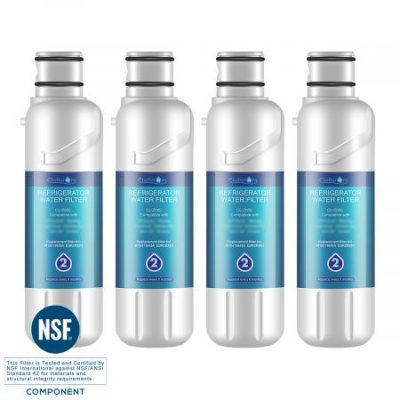 Clatterans CL-Z005 Replacement Refrigerator Water Filter for W10413645A Filter 2 & EDR2RXD1, 4-Pack