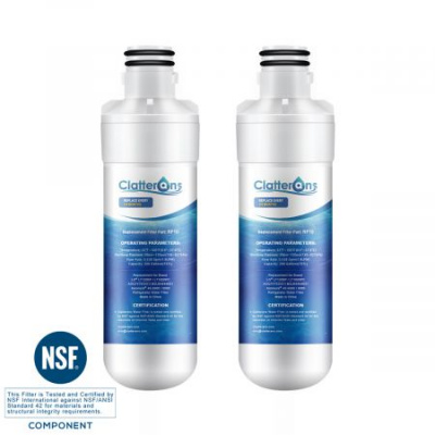 Clatterans CL-RF10 LT1000P LG Refrigerator Water Filter ADQ74793501 ADQ74793502 & Kenmore 9980 Water Filter, 2-Pack