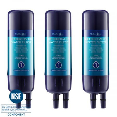 Clatterans CL-RF27 Replacement Refrigerator Water Filter W10295370A Filter, 3-Pack