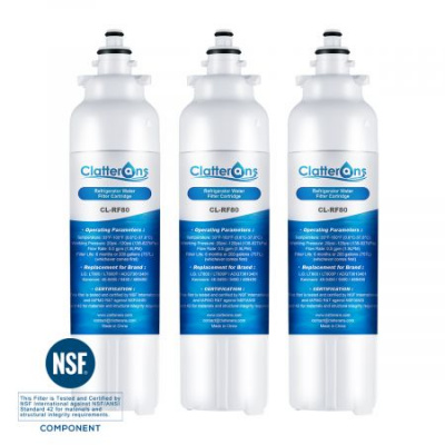 Clatterans CL-RF80 LG Refrigerator Water Filter LT800P ADQ73613401 Replacement & Kenmore 469490 Water Filter, 3-Pack