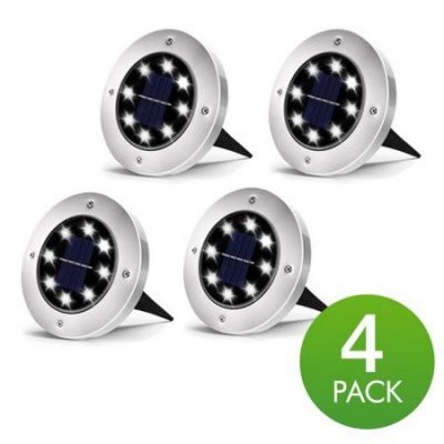 Solar Disk Lights Outdoor, 8 LED Bulbs Solar Ground Lights Outdoor Waterproof for Garden Yard Patio Pathway Lawn Driveway - White (4 Pack)