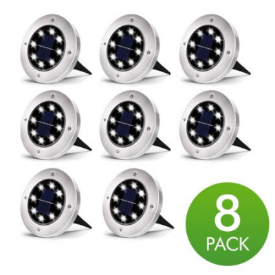 Solar Disk Lights Outdoor, 8 LED Bulbs Solar Ground Lights Outdoor Waterproof for Garden Yard Patio Pathway Lawn Driveway - White (8 Pack)