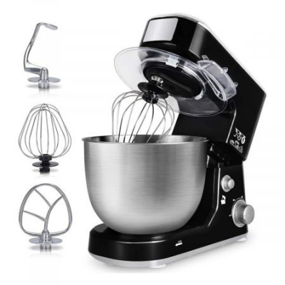 Stand Mixer,Dough Mixer Tilt-Head Electric Mixer with 5-Quart Stainless Steel Bowl, Dough Hook, Mixing Beater and Whisk, Splash Guard (Black)