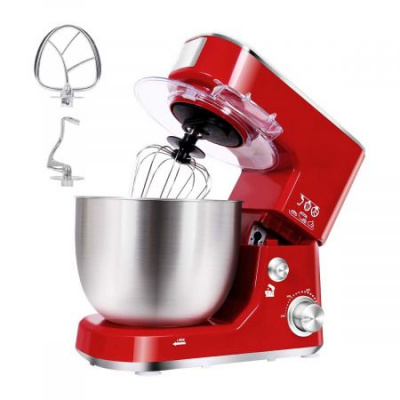 Stand Mixer,Dough Mixer Tilt-Head Electric Mixer with 5-Quart Stainless Steel Bowl, Dough Hook, Mixing Beater and Whisk, Splash Guard (Red)