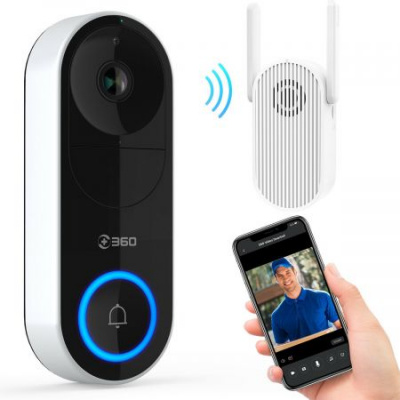 360 D819 Smart Video Doorbell Wireless 1080P WiFi Intercom Security Camera Ring