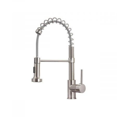 Kitchen Faucets Low Lead Commercial Solid Brass Single Handle Single Lever Pull Down Sprayer Spring Kitchen Sink Faucet, Brushed Nickel
