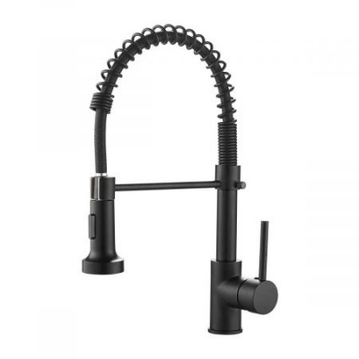 Kitchen Faucets Commercial Solid Brass Single Handle Single Lever Pull Down Sprayer Spring Kitchen Sink Faucet, Matte Black