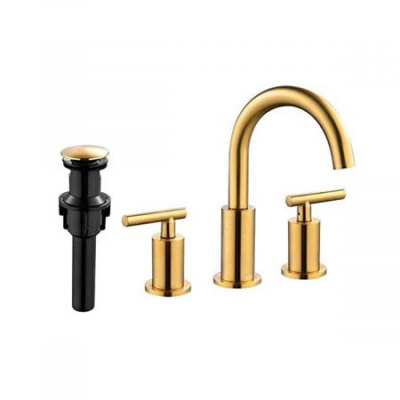 Clatterans Two Handle High Arc Widespread Bathroom Sink Faucet 3 Hole with Pop-Up Drain and Water Supply Lines - Brushed Golden