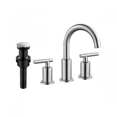 Clatterans Two Handle High Arc Widespread Bathroom Sink Faucet 3 Hole with Pop-Up Drain and Water Supply Lines -Chrome