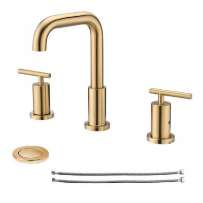Clatterans 2-Handle 8 inch Widespread Three Hole Bathroom Sink Faucet with Pop Up Drain & Supply Lines Basin Faucet Mixer Tap - Brushed Golden