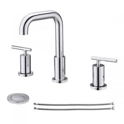 Clatterans 2-Handle 8 inch Widespread Three Hole Bathroom Sink Faucet with Pop Up Drain & Supply Lines Basin Faucet Mixer Tap - Chrome
