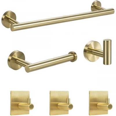 "6 Pieces SUS304 Bathroom Towel Set Include 16"" Lengthen Hand Towel Bar, Towel Hooks, Toilet Paper Holder and 3 Adhesive Hooks Stainless Steel-Brushed Gold"