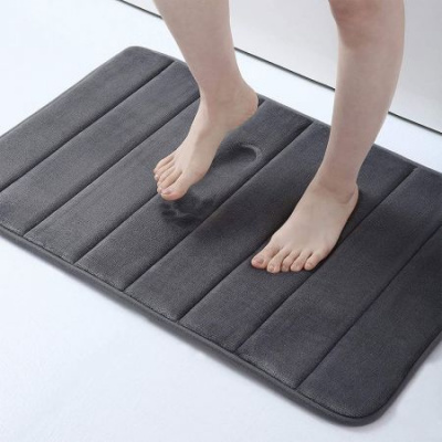 "Memory Foam Soft Bath Mats - Non Slip Absorbent Bathroom Rugs Rubber Back Runner Mat for Kitchen Bathroom Floors 15.7"" x 24"" -Dark Grey"