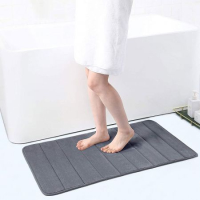 "Memory Foam Soft Bath Mats - Non Slip Absorbent Bathroom Rugs Rubber Back Runner Mat for Kitchen Bathroom Floors 24"" x 35"" -Dark Grey"