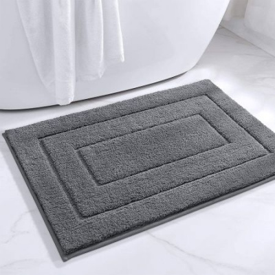 "Bathroom Rug Mat, Extra Soft Absorbent Premium Bath Rug, Non-Slip Comfortable Bath Mat, Carpet for Tub, Shower, Bath Room, Machine Wash Dry 16""x24"" -Grey"
