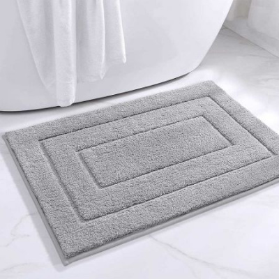 "Bathroom Rug Mat, Extra Soft Absorbent Premium Bath Rug, Non-Slip Comfortable Bath Mat, Carpet for Tub, Shower, Bath Room, Machine Wash Dry 16""x24"" -Light Grey"
